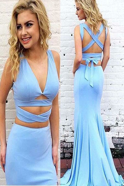 Simple V-Neck 2 Pieces Mermaid Satin Prom Dress Custom Made Fashion Long Party Dress School Dance Dresses PD400