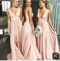 Simple Sexy Side Slit Bridesmaid Dress Custom Made Long Deep V-Neck Wedding Party Dresses BD049