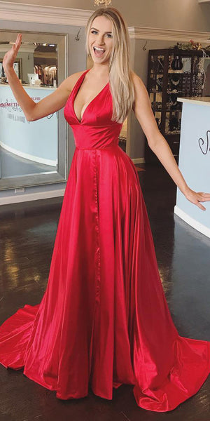 2020 Sexy Red Deep V-Neck Prom Dress Long Fashion Side Slit Evening Gowns Custom Made Long School Dance Dress Women's Pagent Dresses PD964
