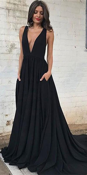 Simple Sexy Deep V-Neck Black Prom Dress with Pockets Custom Made Backless Evening Party Dress Fashion Long Formal School Dance Dress PD552