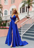 Sexy Deep V-Neck Long Prom Dress Custom Made Long Royal Blue Evening Gowns Fashion Long Side Slit School Dance Dress PD810