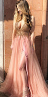Sexy Deep V-Neck Beaded Tulle Prom Dress 2019 Custom Made Side Slit Evening Party Dress Fashion Long Beadings School Dance Dress PD499
