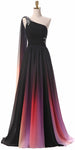 One Shoulder Gradient Color Prom Dress with Sexy Side Slit Custom Made Chiffon Evening Party Dress Fashion Long Beadings School Dance Dress Pageant Dress for Girls PD674
