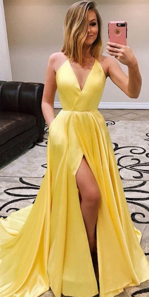 Sexy High Side Slit Long Prom Dress Custom Made Long Evening Gowns Fashion Long School Dance Dress PD811