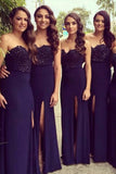 Sweetheart Chiffon Lace Bridesmaid Dress Side Split Formal Dresses BD014
