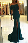 Sexy Off Shoulder High Side Slit Prom Dress Custom Made Long Satin Evening Dress PD102