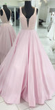 Beaded Long Pink Prom Dress Custom Made Long Sexy V-Back Evening Gowns Fashion Long School Dance Dress Women's Pagent Dresses PD910