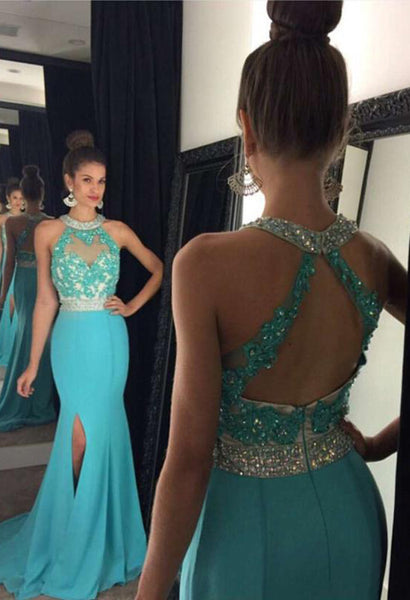 Halter Beaded Open Back Prom Dress Sexy Mermaid Side Split Evening Dress PD018