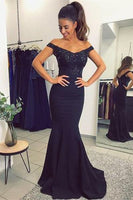 Sexy Mermaid Appliques Prom Dress Custom Made Off Shoulder Evening Party Dress Fashion Long School Dance Dress PD532