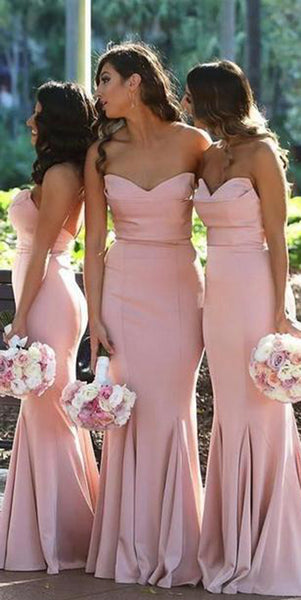 Sexy Mermaid Long Bridesmaid Dress 2019 Custom Made Sweetheart Pink Wedding Party Dresses BD052