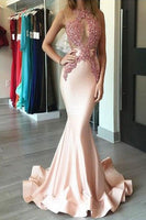 Sexy Mermaid Satin Appliques Prom Dress Custom Made Fashion Open Back Long Evening Gowns PD287