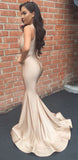 Sexy Mermaid Champagne Satin V-Neck Prom Dress Custom Made Long Evening Gowns Fashion Formal Party Dresses PD454