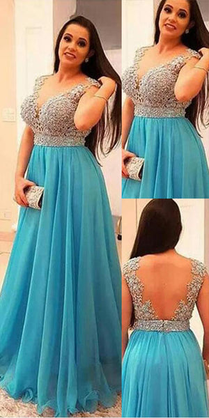 Sparkly Beaded Blue Prom Dress Custom Made Fashion Long A-Line Formal Evening Dress Plus Size Prom Dresses PD374
