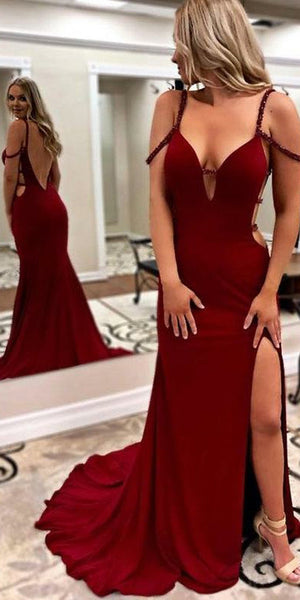 Sexy Open Back Prom Dress with Beaded Straps Custom Made Long Side Slit Evening Gowns Fashion Long Backless School Dance Dresses PD693