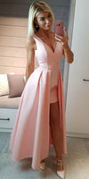 Simple V-Neck Pink Satin Prom Dress Custom Made Sexy High Low Evening Party Dress Fashion Long School Dance Dress Pageant Dress for Girls PD556