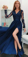 V-Neck Navy Blue Chiffon Lace Prom Dress Long with Full Sleeves 2019 Custom Made Side Slit Evening Dress Fashion Long School Dance Dress PD472