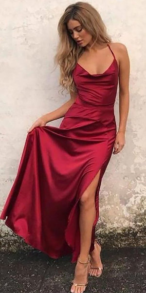 Silple Red Spaghetti Straps Prom Dress 2019 Custom Made Satin A-Line Evening Party Dress Fashion Long School Dance Dress PD548