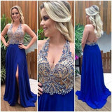 Halter Beaded Royal Blue Side Slit Prom Dress Custom Made Long Backless Evening Gowns Fashion School Dance Dresses PD390