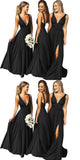 Simple V-Neck Long Black Bridesmaid Dress 2019 Custom Made Fahion Long Side Slit Wedding Party Dresses BD082