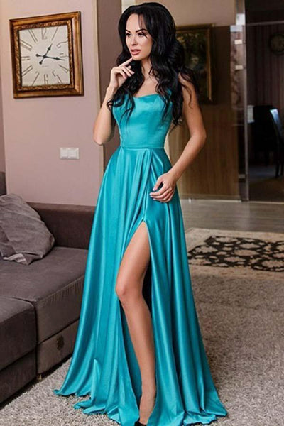 Fashion Simple Blue Satin Prom Dress with Straps Custom Made Sexy Side Slit Long Formal Evening Gowns PD321