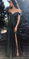 Simple Sweetheart Off Shoulder Prom Dress Custom Made Sexy Side Slit Evening Party Dress Fashion Long Formal School Dance Dress PD553