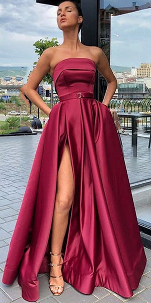 Strapless Long Side Slit Prom Dress Custom Made Long Evening Gowns Fashion Long School Dance Dresses PD759