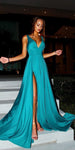 Simple Sexy Deep V-Neck Side Slit Prom Dress 2019 Custom Made Satin Evening Party Dress Fashion Long chool Dance Dress PD528