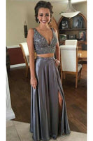 Custom Made Beaded 2 pieces Satin Prom Dress Fashion Long Beadings Graduation Party Dresses PD270