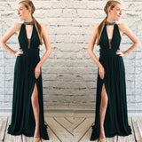 Sexy Deep V-Neck Beaded Neckline Prom Dress 2019 Custom Made Open Back Evening Party Dress Fashion Long School Dance Dress Pageant Dress for Girl's PD581