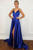 Simple Sexy Royal Blue Spaghetti Straps Satin Prom Dress Custom Made Long Side Slit Formal Evening Gowns PD322