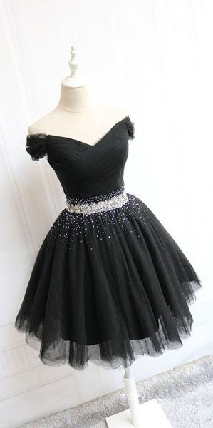 Black Off Shoulder Short Prom Dress with Beaded Waist Custom Made Short Homecoming Dress Fashion Short Tulle Beadings School Dance Dress PDS056