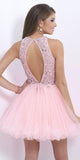 Short Beaded Pink Open Back Homecoming Dress Custom Made Cute Short Cocktail Party Dress Fashion Short Tulle Beadings School Dance Dresses Sweet 16th Dress HD143