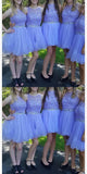 Tulle Appliques Short Bridesmaid Dress with Beaded Waist Custom Made Fashion Short Beadings Wedding Party Dresses BD118