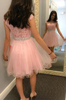 Short Pink Tulle Appliques Homecoming Dress Custom Made Cute Short Cocktail Dress Fashion Short Tulle Beadings School Dance Dresses Short Women's Fashion Dresses HD176
