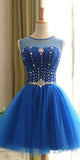 Royal Blue Tulle Beadings Short Homecoming Dress with Lace Up Back Custom Made Cute Short Cocktail Party Dress Fashion Short Beaded School Dance Dresses Sweet 16th Dress HD136