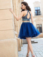 Halter Beaded Royal Blue 2 Pieces Short Homecoming Dress 2019 Custom Made Tulle Beadings Cocktail Dress Fashion Two Pieces Sweet 16th Dress Short Open Back School Dance Dress HD074