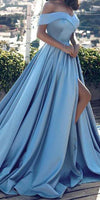 Sweetheart Off Shloulder Side Slit Blue Prom Dress 2019 Custom Made Long Evening Gowns Fashion Formal Dresses PD466