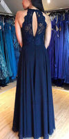Chiffon Long Prom Dress Custom Made Long Side Slit Evening Party Dresses Fashion Long Navy School Dance Dresses PD725