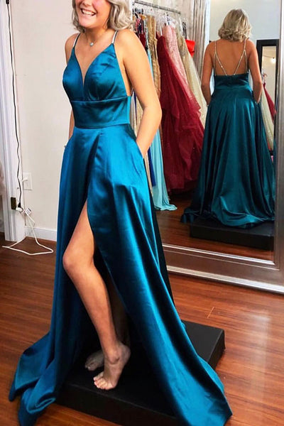 V-Neck Royal Blue Backless Prom Dress with Beaded Spaghetti Straps Custom Made Long Satin Evening Gowns Fashion A-Line Graduation Party Dresses PD435