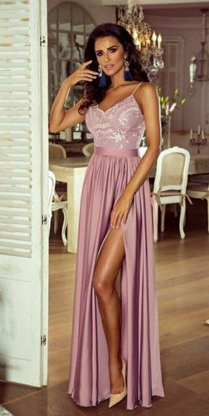 Spaghetti Straps Skin Pink Prom Dress 2019 Custom Made Side Slit Evening Party Dress Fashion Floor Length School Dance Dress Girls Pageant Dress PD564