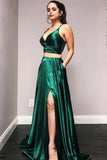 Dark Green V-Neck Spaghetti Straps Backless Prom Dress 2019 Custom Made Simple 2 Pieces Evening Party Dress Fashion Long Side Slit School Dance Dress PD478