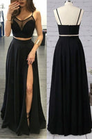 Simple 2 Pieces Black Prom Dress 2019 Custom Made Spaghetti Straps Evening Party Dress Fashion Chiffon Long School Dance Dress PD512