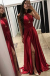 Custom Made Simple Sexy Side Slit Long Prom Dress Fashion Halter A-Line Evening Dress PD198