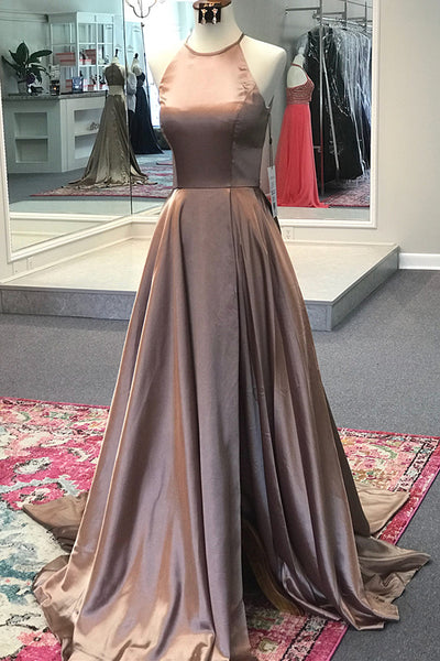 Simple High Side Slit Satin A-Line Prom Dress Custom Made Long Evening Party Gowns Fashion Formal Dresses PD413
