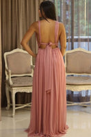 Sexy Deep V-Neck Side Slit Chiffon Prom Dress Custom Made Backless Fashion Formal Gowns Long Evening Dresses PD396