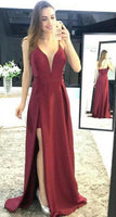 Simple Sexy Burgundy V-Neck Side Slit Prom Dress with Spaghetti Straps Custom Made Long Evening Party Dress Fashion Formal Dresses PD448