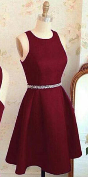 Simple O-Neck Cross Back Homecoming Dress Burgundy Satin Party Dress HD009