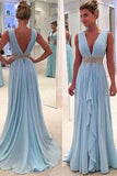 V-Neck Blue Chiffon Prom Dress with Beaded Waist Sexy V-Back Formal Dresses PD037