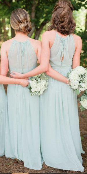 Simple Halter Chiffon Bridesmaid Dress with See Through Bodice Custom Made Long Wedding Party Dresses BD071