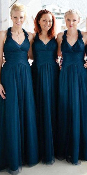 Custom Made Simple V-Neck Tulle Bridesmaid Dress Fashion Long A-Line Wedding Party Dresses BD037